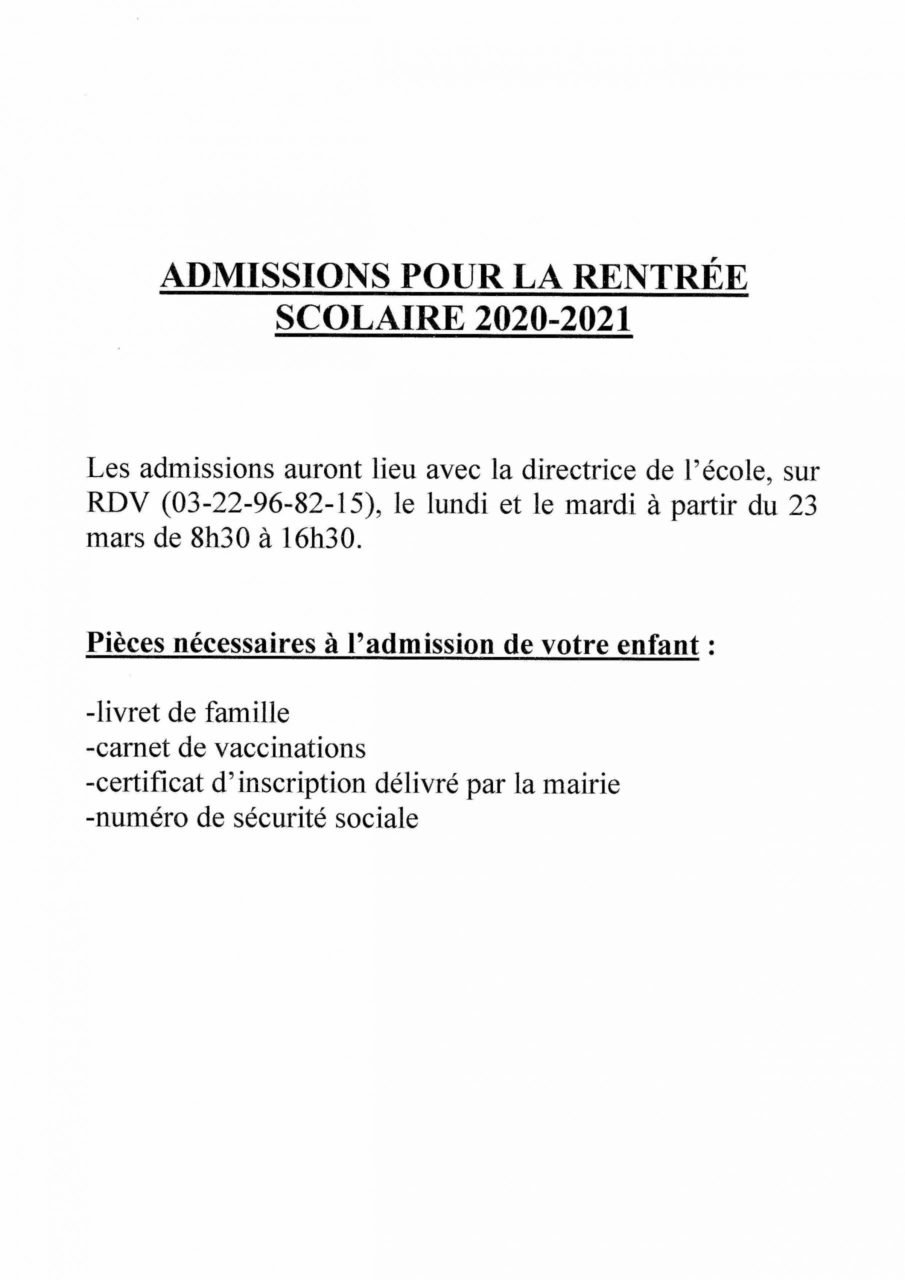 incriptions scolaires